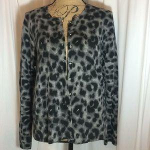 Apt. 9 100% Cashmere Leopard Print Cardigan Gray